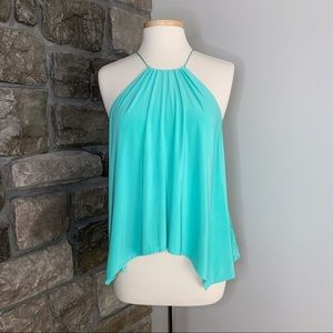 Express Bright Turquoise Flowy High Neck Tank, S